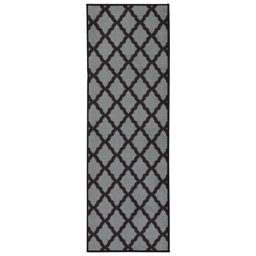 Glamour Collection Contemporary Moroccan Trellis Dark Gray 2 ft. x 6