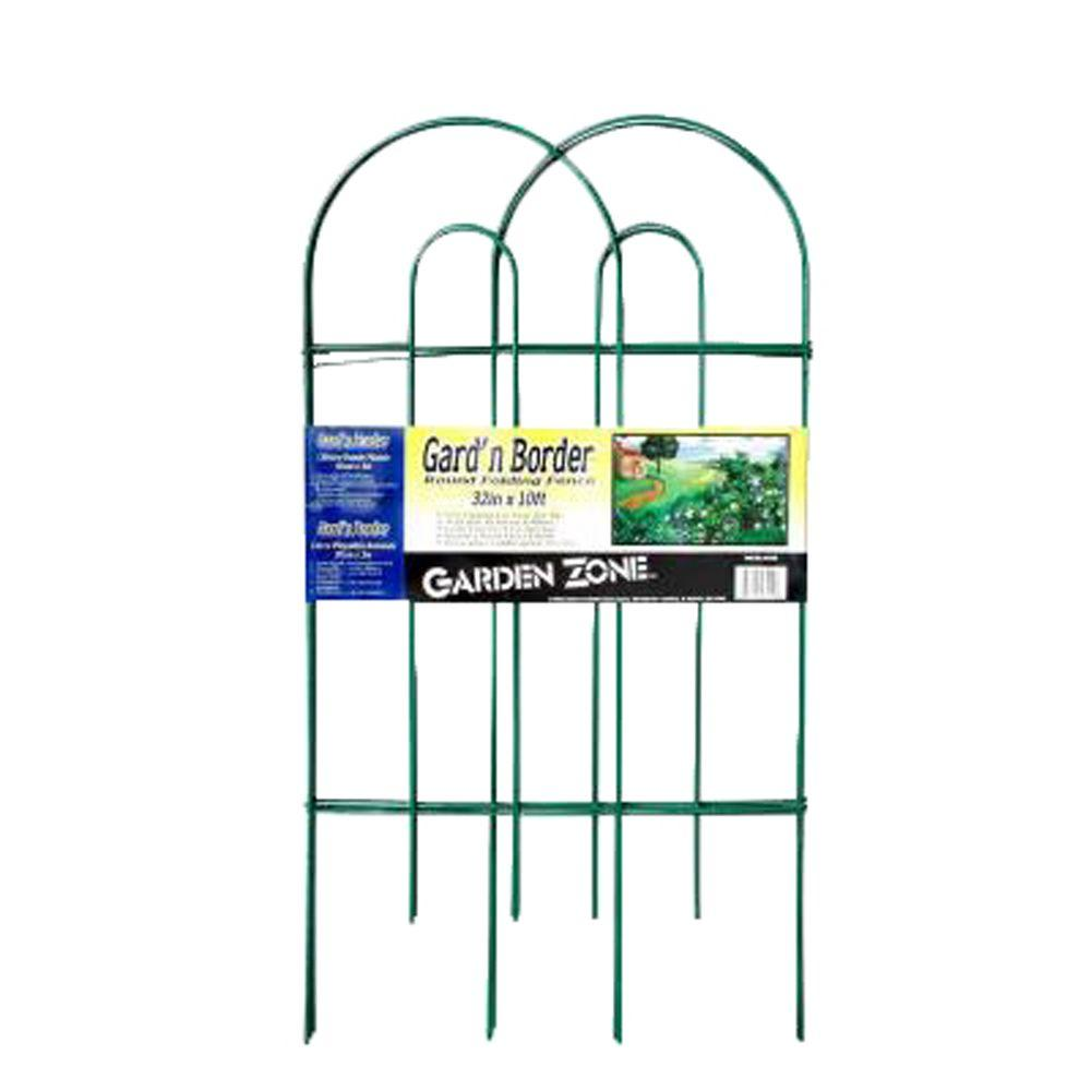 null 32 in. Steel Green Vinyl Coated Round Folding Garden Fence-DISCONTINUED