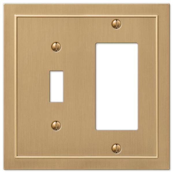Bethany 2 Gang 1-Toggle and 1-Rocker Metal Wall Plate - Brushed Bronze