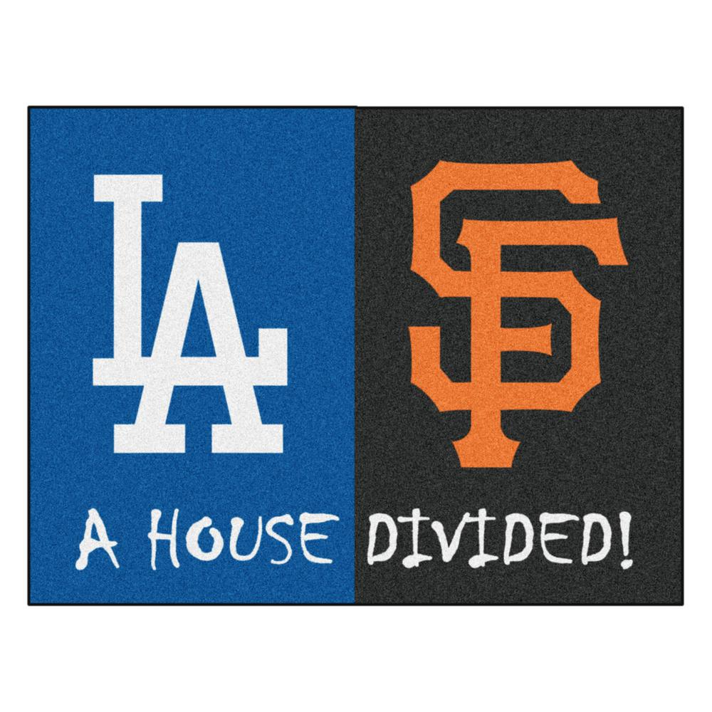 Fanmats Mlb Dodgers Giants House Divided Gray 3 Ft X 4 Area Rug 12249 The Home Depot