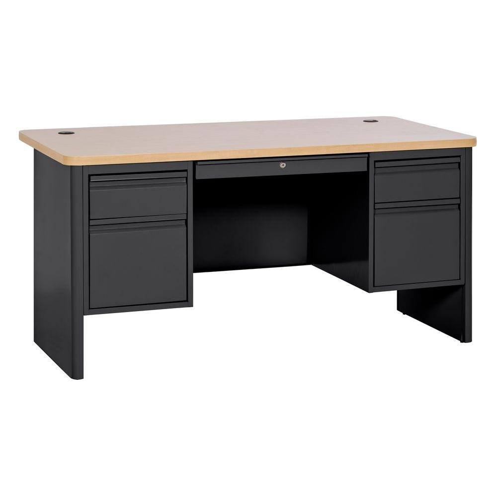 700 Series Double Pedestal Teachers Desk in Black/Maple