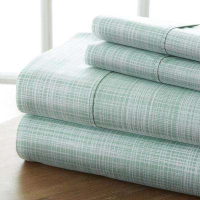 Thatch Patterned 4-Piece Forest Full Performance Bed Sheet Set