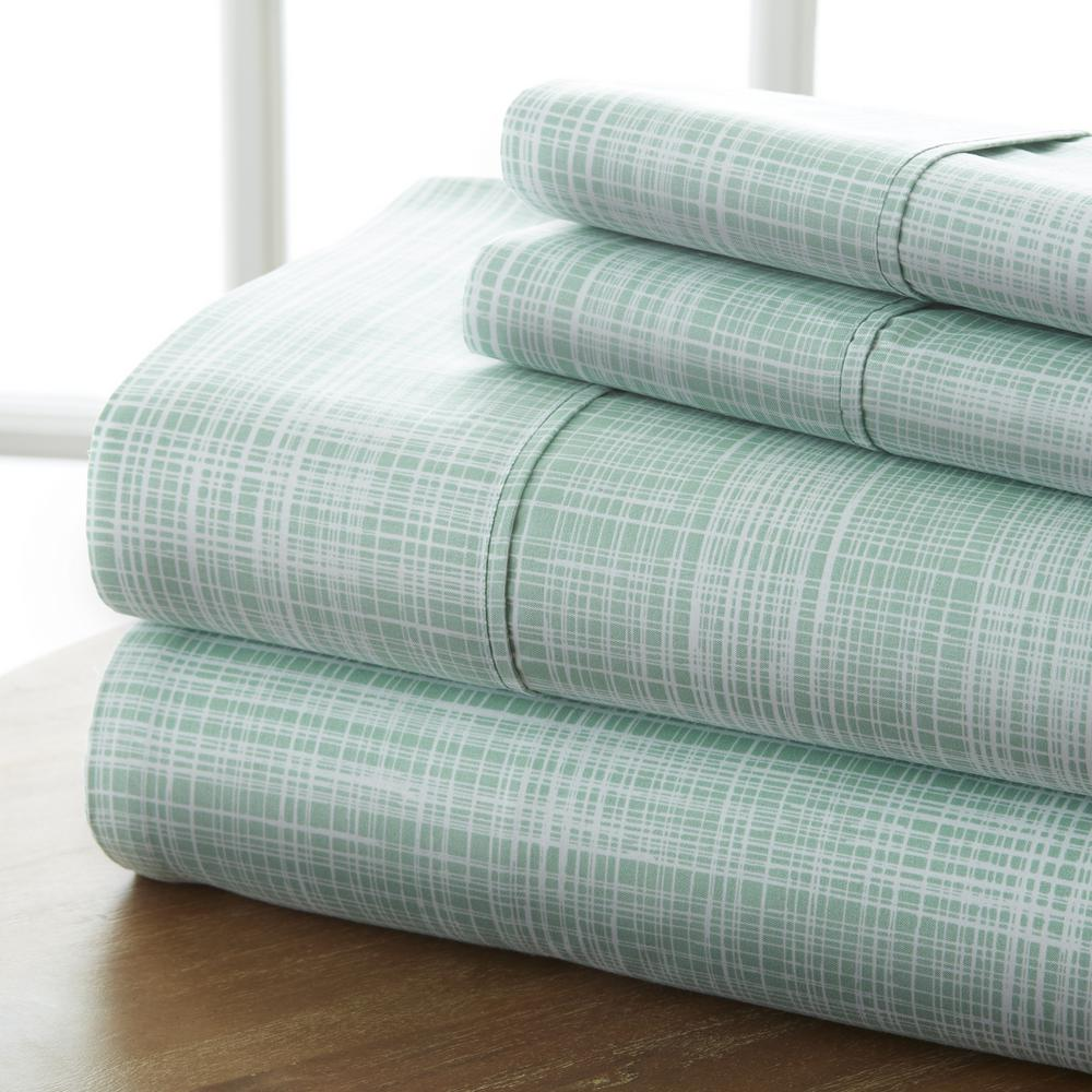 Becky Cameron Becky Cameron Thatch Patterned 4-Piece Forest Queen Performance Bed Sheet Set, Green