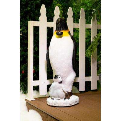 37 in. H Solar Christmas Penguin Statue Decor