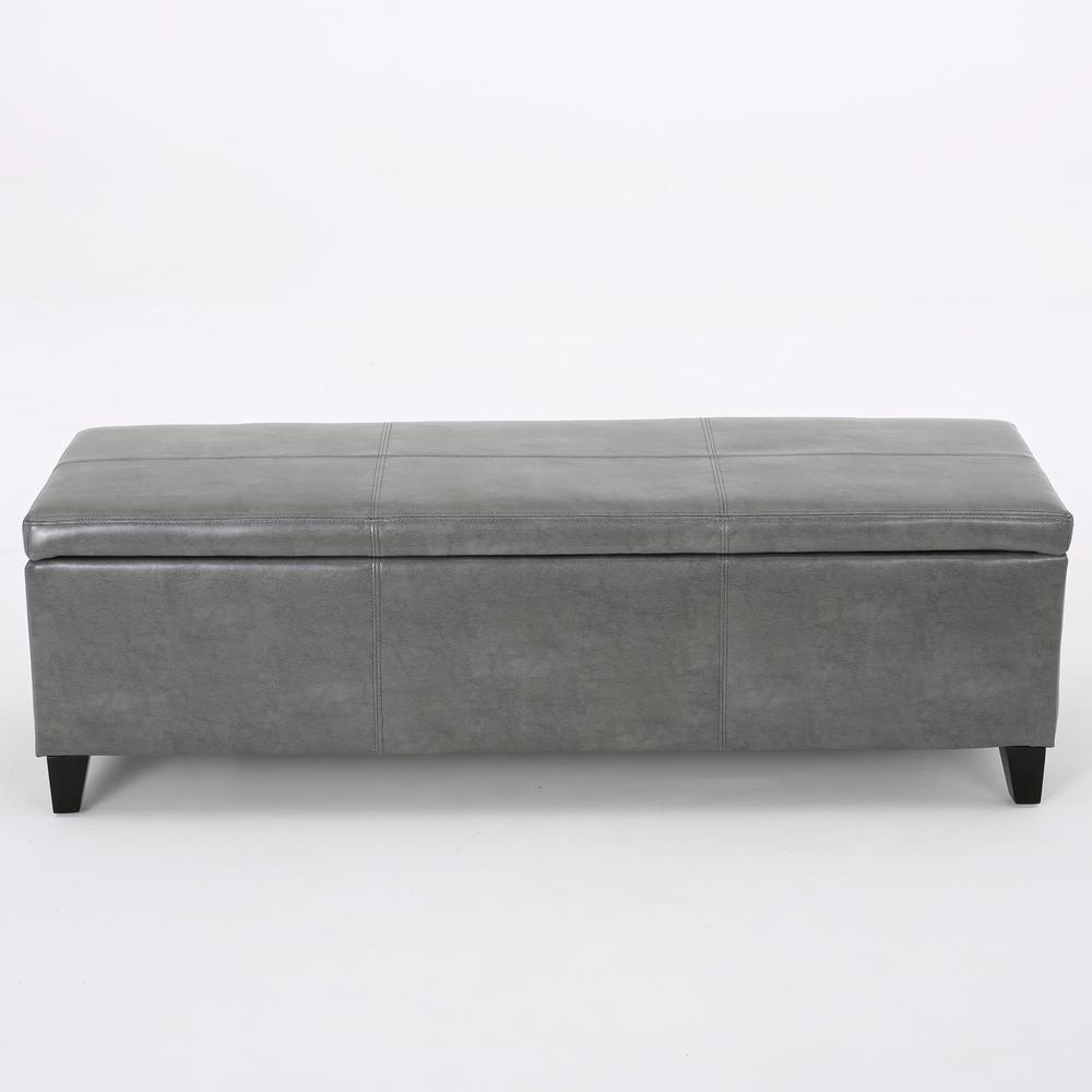 Glouster Dark Gray Leather Storage Bench