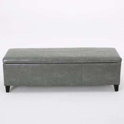 Glouster Dark Gray Leather Storage Bench