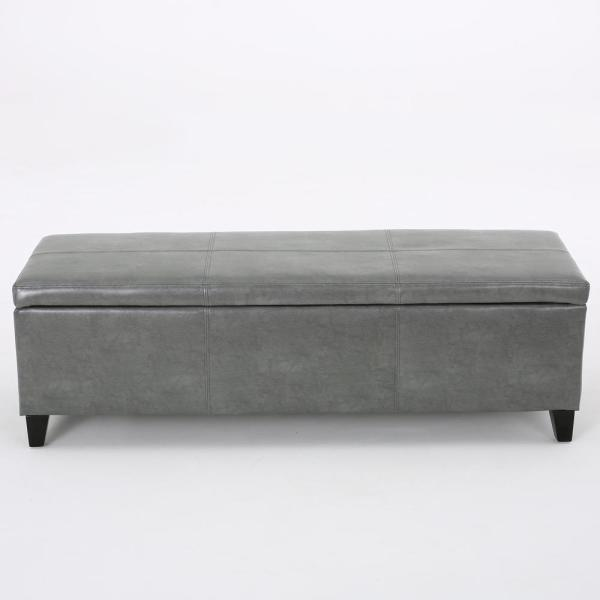 Noble House Glouster Dark Gray Leather Storage Bench 298341