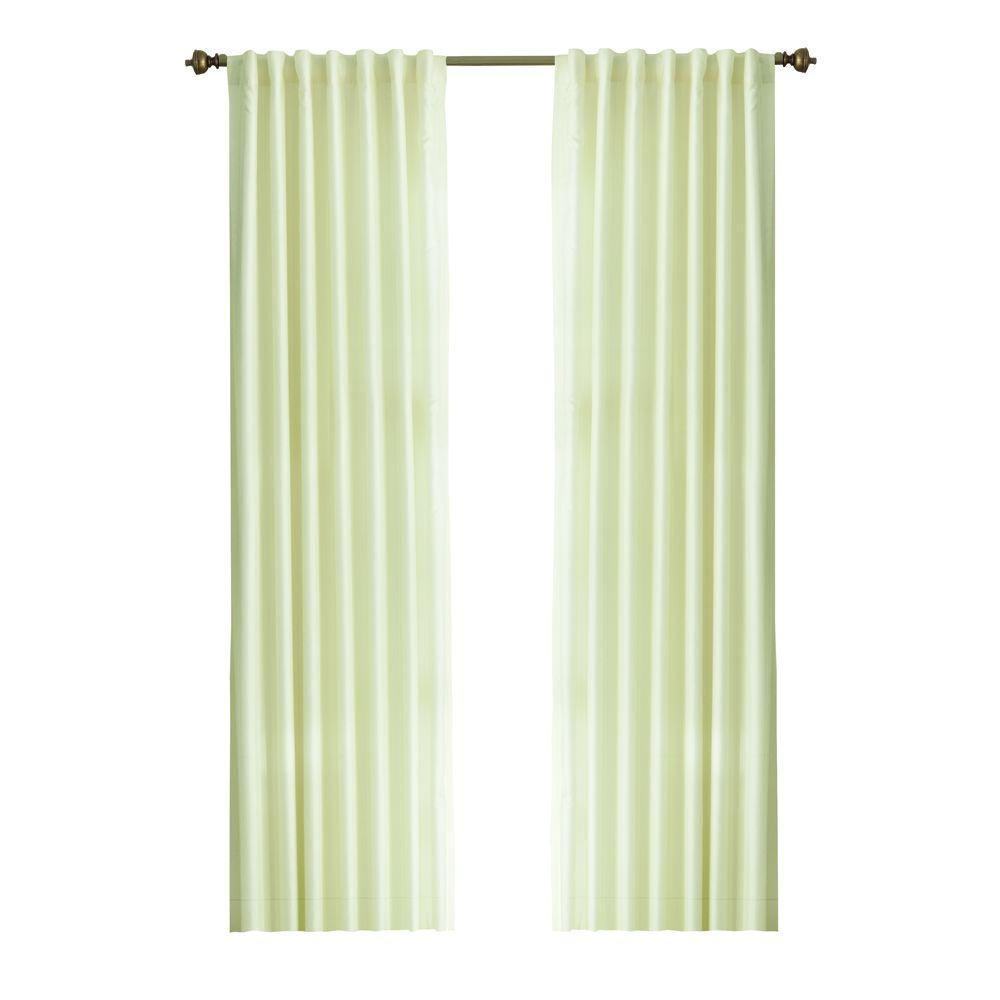 Semi-Opaque Cream Slub Faux Silk Back Tab Curtain