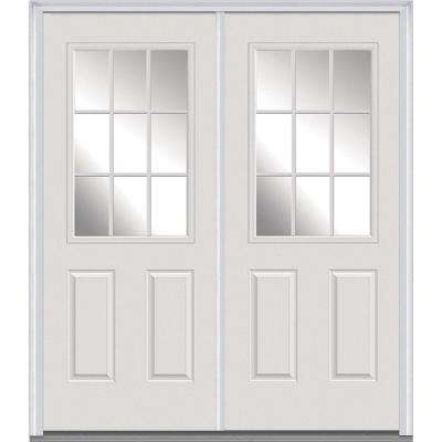 60 in. x 80 in. White Internal Grilles Right-Hand Inswing 1/2-Lite Clear Painted Fiberglass Smooth Prehung Front Door