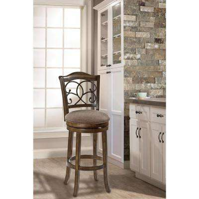 McLane 30 in. Rich Walnut Swivel Cushioned Bar Stool