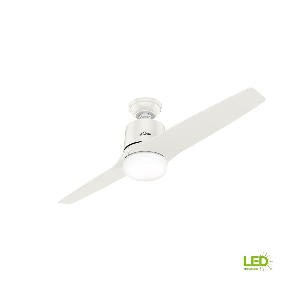Hunter Channing 54 In Led Indoor Easy Install Fresh White Ceiling Wiring Fan Dual Switch With Integrated