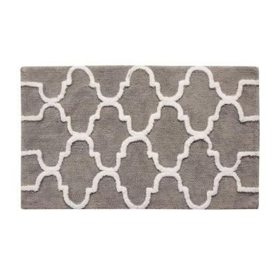 50 in. x 30 in. Bath Rug Cotton in Gray and White
