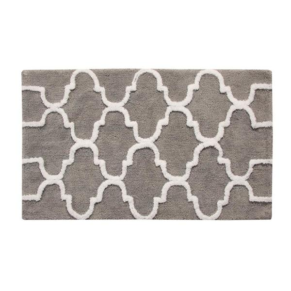 Saffron Fabs 50 in. x 30 in. Bath Rug Cotton in Gray and White