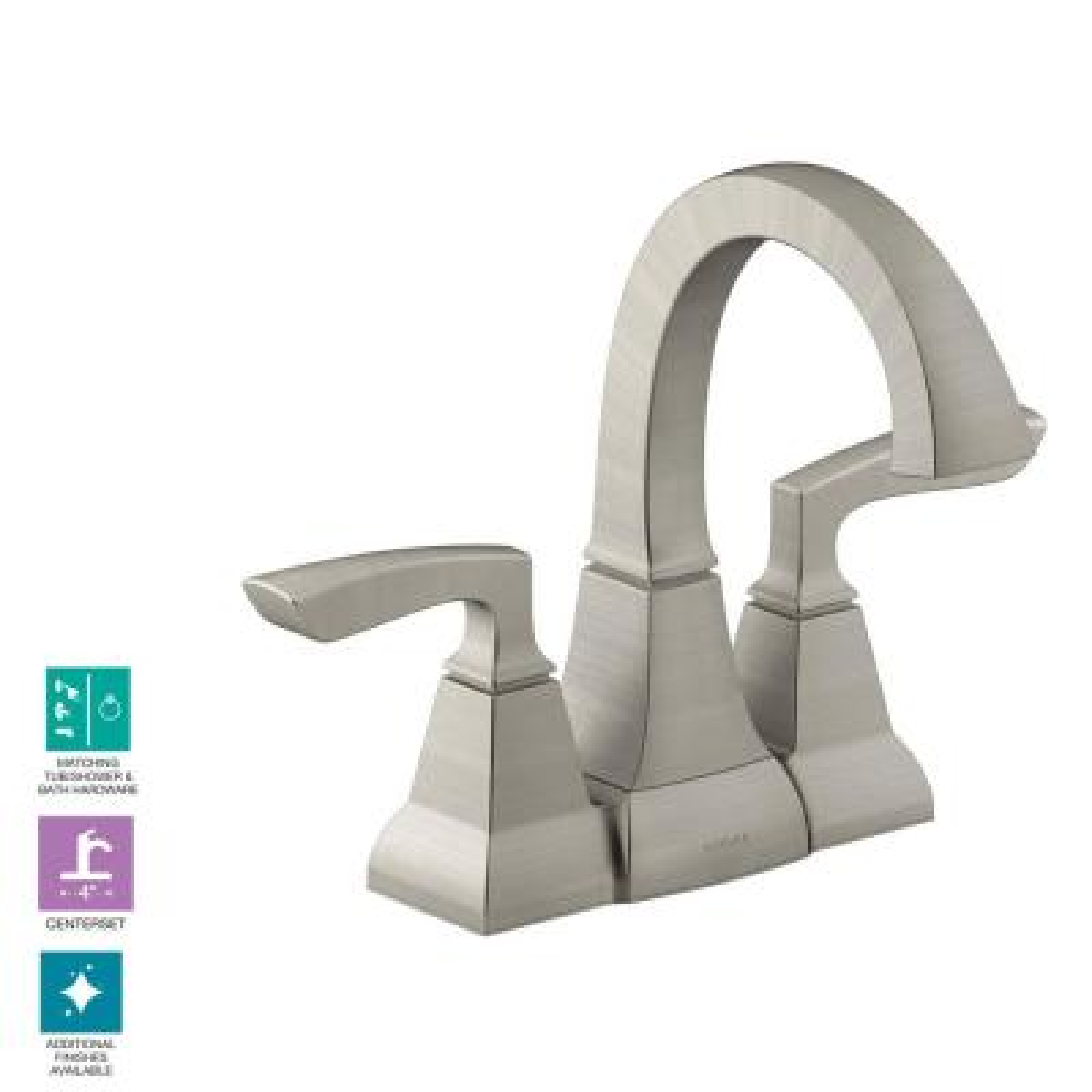 Kallan 4 in. Centerset 2-Handle Bathroom Faucet in Vibrant Brushed Nickel