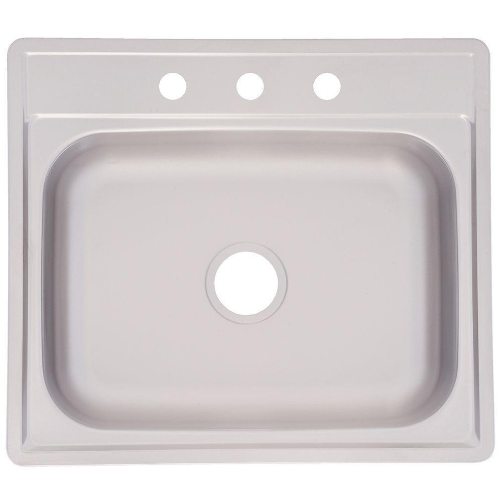 franke drop in stainless steel 25 in 3 hole single bowl kitchen sink franke drop in stainless steel 25 in 3 hole single bowl kitchen      rh   homedepot com