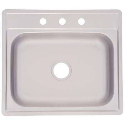 Drop-In Stainless Steel 25.in 3-Hole Single Bowl Kitchen Sink