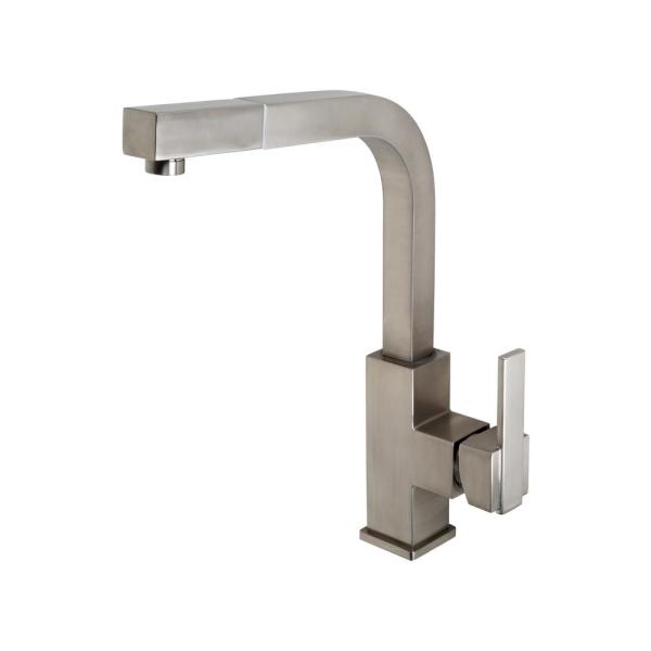 Republique Single-Handle Square Pull-Out Sprayer Kitchen Faucet in Brushed Nickel
