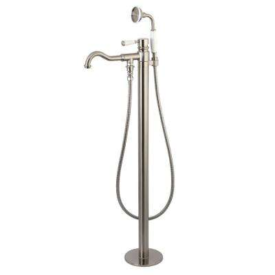 Kaiser Single-Handle Floor-Mount Roman Tub Faucet with Hand Shower in Brushed Nickel