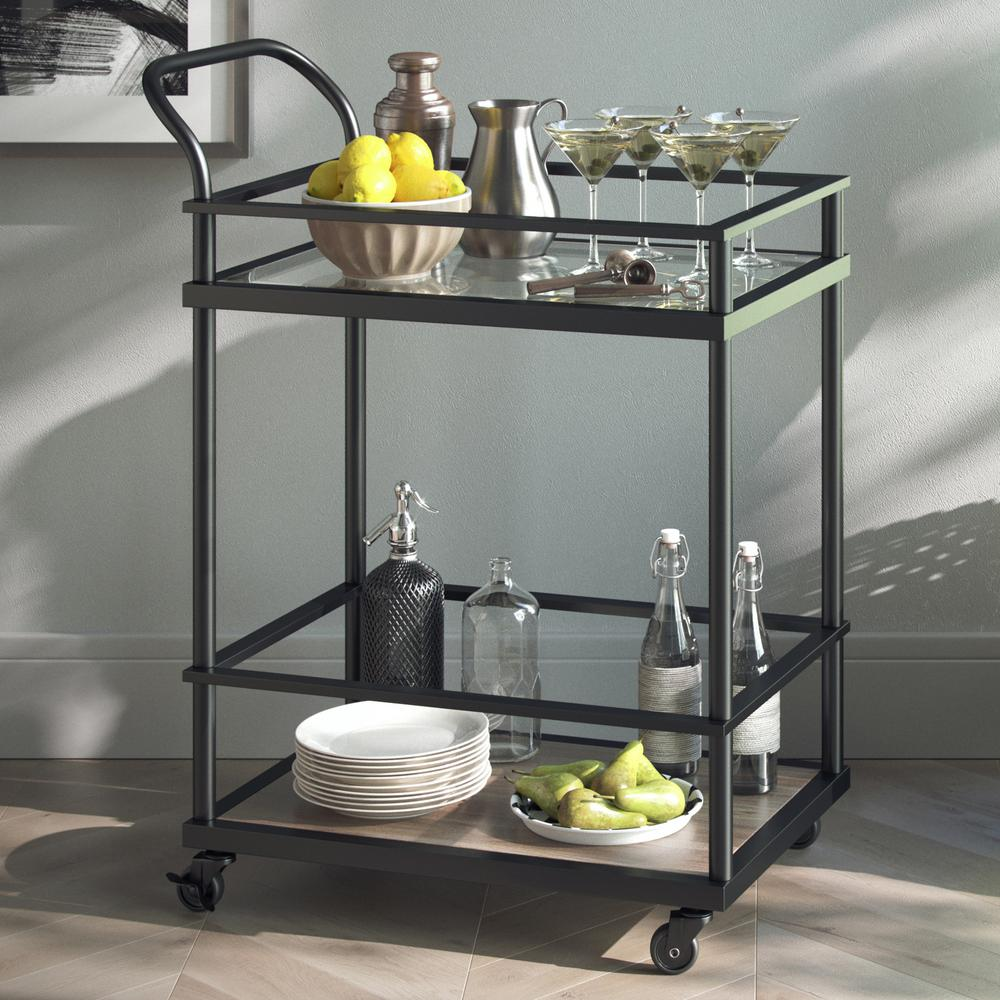 Nathan james carter 2 tiered matte black metal frame glass bar and serving cart with