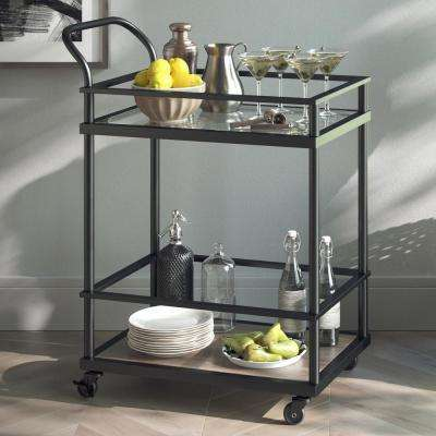 Carter 2-Tiered Matte Black Metal Frame Glass Bar and Serving Cart with Wood Shelf