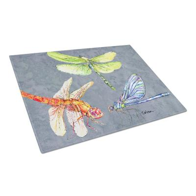 Dragonfly Times Three Tempered Glass Large Cutting Board