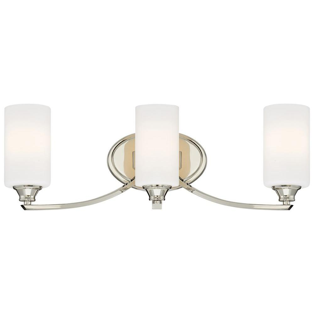 Minka Lavery Tilbury 3 Light Polished Nickel Bath Vanity Light 3983 613 The Home Depot