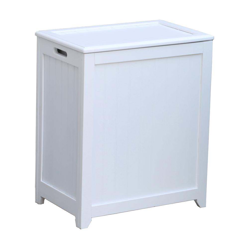 White Wainscot Style Rectangular Laundry Hamper