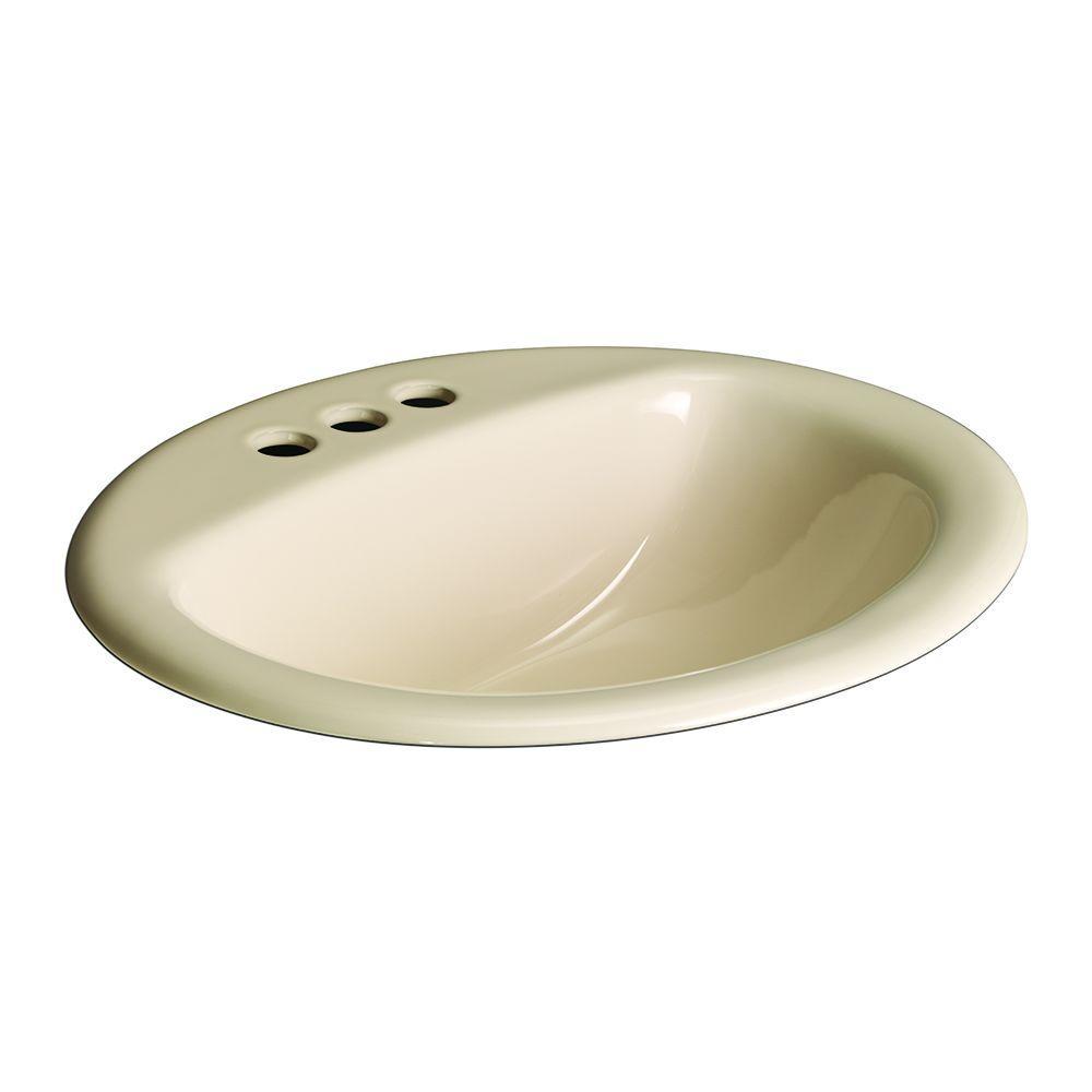 Aragon Self-Rimming Drop-In Bathroom Sink in Bone
