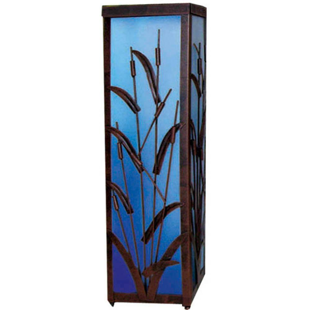 null 12 in. Solar Coastal Cattail Lantern with Blue Light-DISCONTINUED