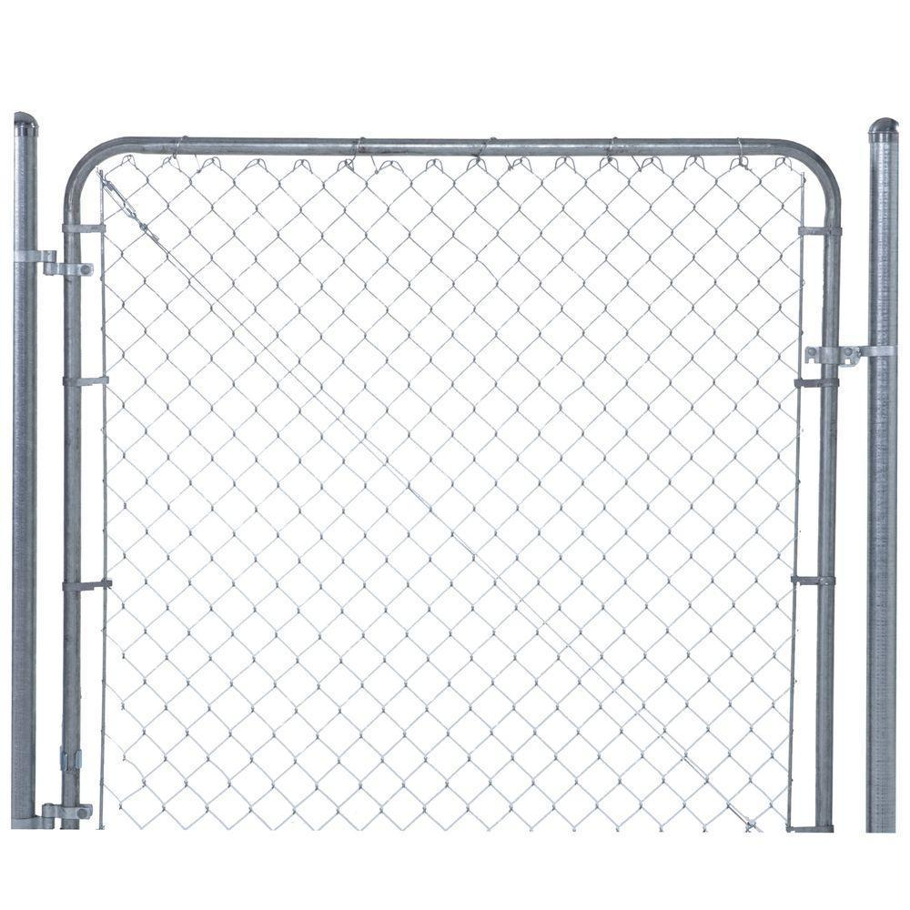 Everbilt 6 ft. W x 4 ft. H Metal Expandable Galvanized Chain Link Fence Gate Kit