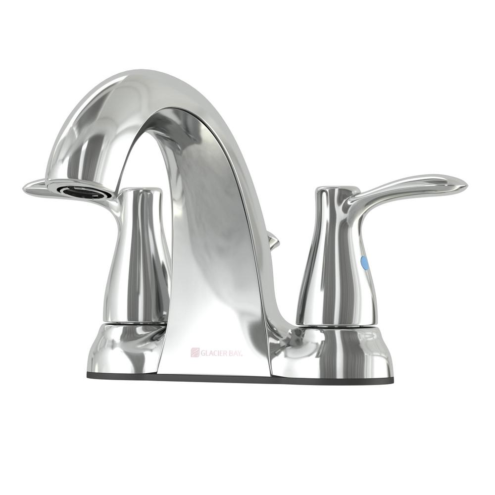 GLACIER BAY Gable 4 in. Centerset 2-Handle Mid-Arc Bathroom Faucet in Chrome