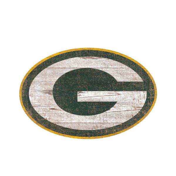 08fa1ea13 Adventure Furniture NFL Indoor Green Bay Packers Distressed Logo Cutout  Wood Sign