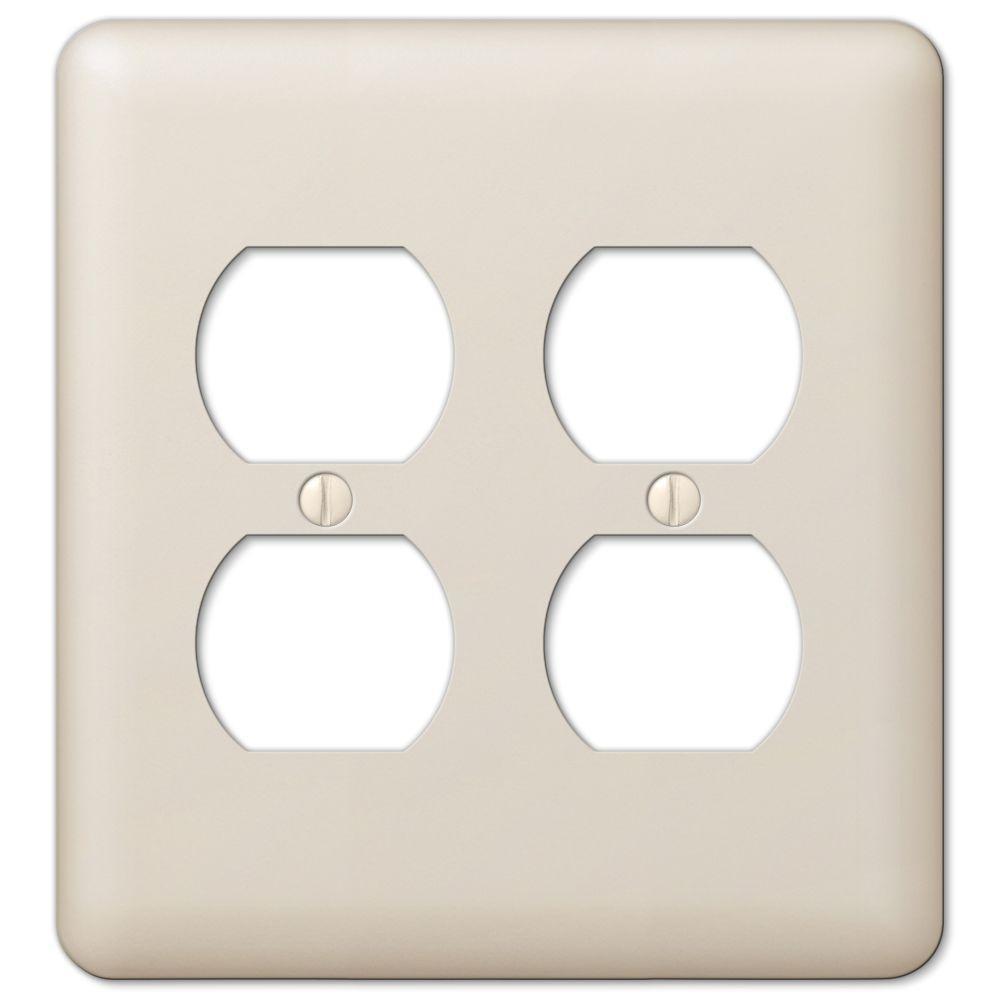 devon 2 duplex wall plate almond