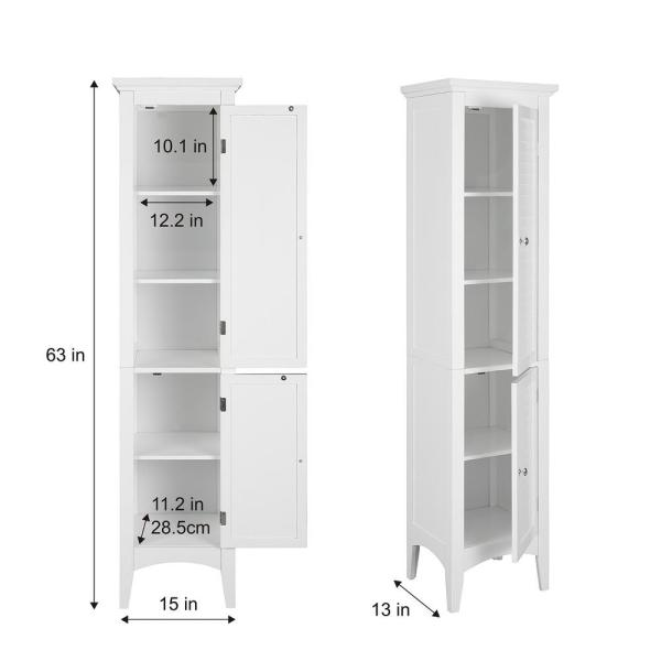 Elegant Home Fashions Simon 15 In W X 63 In H X 13 1 4 In D Bathroom Linen Storage Floor Cabinet With 2 Shutter Doors In White Hdt588 The Home Depot