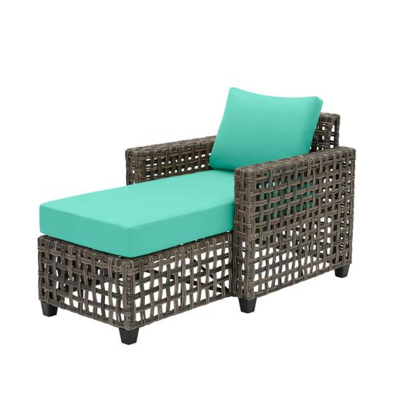 Briar Ridge Brown Wicker Outdoor Patio Chaise Lounge with CushionGuard Seaglass Turquoise Cushions