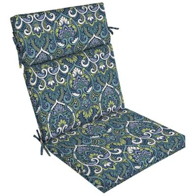21 in. x 44 in. Sapphire Aurora Damask Outdoor Dining Chair Cushion