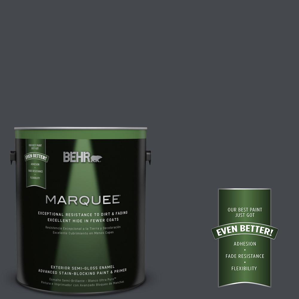 1-gal. #N490-7 Ink Black Semi-Gloss Enamel Exterior Paint