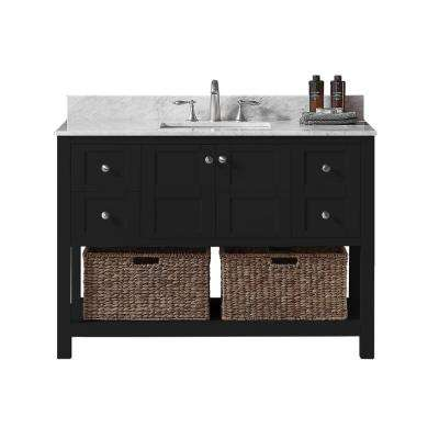 Makena 48 in. W x 22 in. D x 34.2 in. H Bath Vanity in Espresso with Carrara Marble Vanity Top in White with White Basin