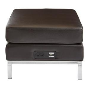 Incredible Espresso Faux Leather Ottoman Modular Component With Chrome Base And Ac Usb 3 0 Charging Station Pabps2019 Chair Design Images Pabps2019Com