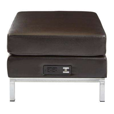 Espresso Faux Leather Ottoman Modular Component with Chrome Base and AC/USB 3.0 Charging Station