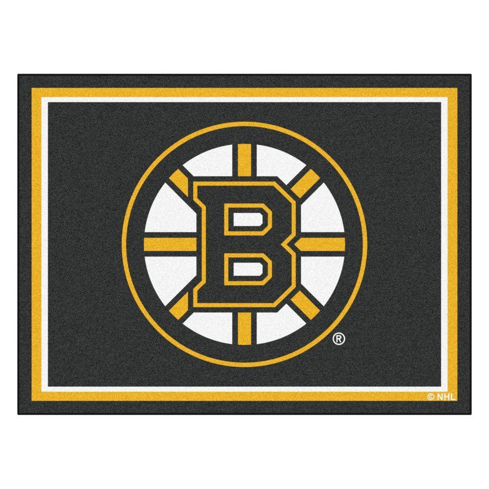 NHL Boston Bruins Black 8 ft. x 10 ft. Indoor Area Rug