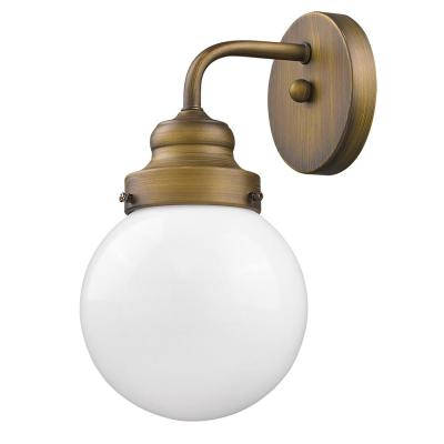 Portsmith 1-Light Raw Brass Sconce with White Globe Shade