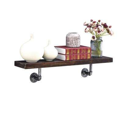 36 in. x 7 in. Floating Pipe Industrial Ebony Rustic Wall Mount Decorative Shelf