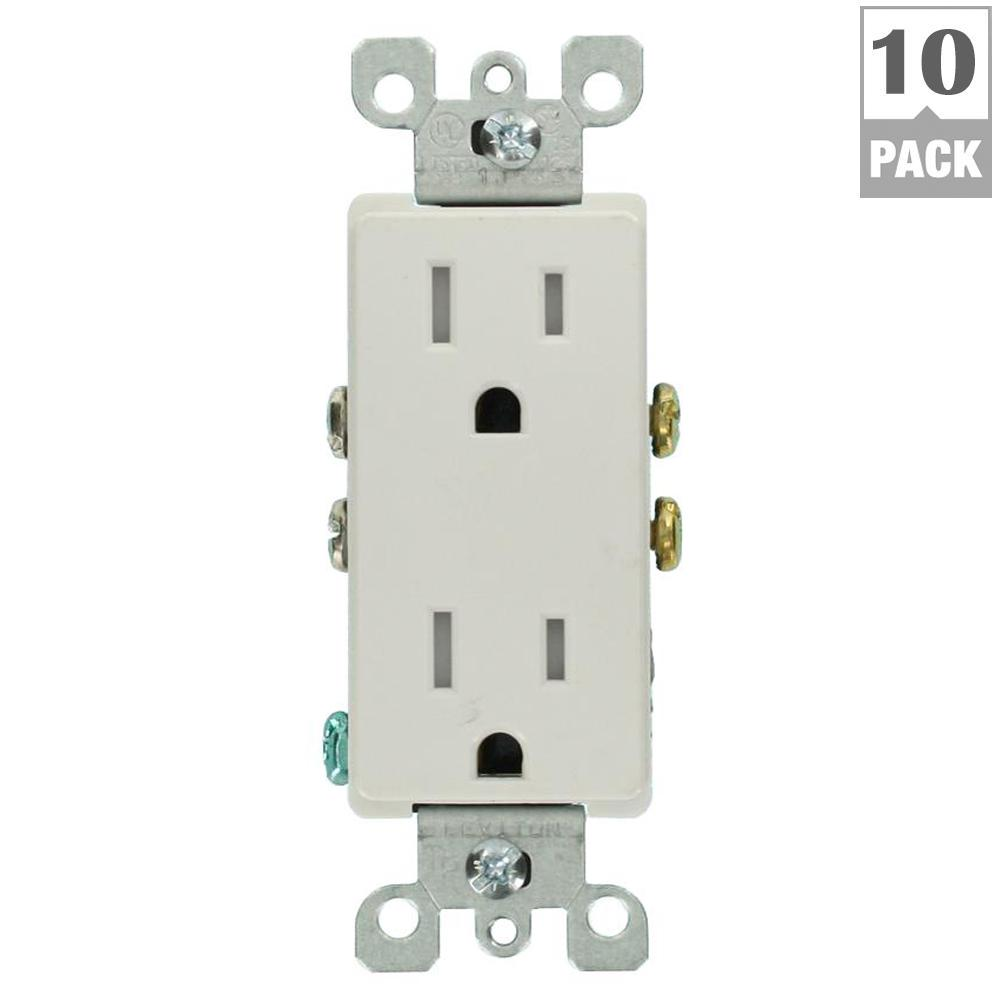 Leviton Decora 15 Amp Tamper-Resistant Duplex Outlet, White (10-Pack on electric outlet wiring diagram, light switch and outlet wiring diagram, single pole outlet wiring diagram, 110 outlet wiring diagram, switched outlet wiring diagram, standard outlet wiring diagram,