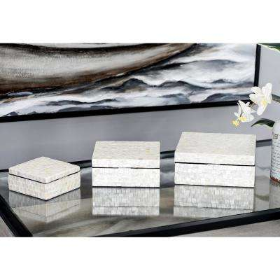 Rectangular Shell-Inlaid Wooden Boxes with Lid (Set of 3)