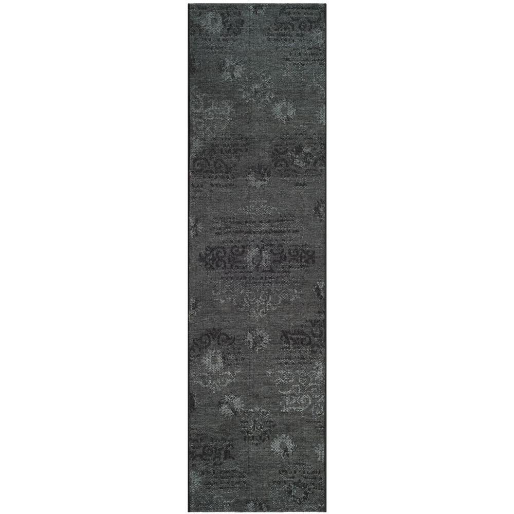 Palazzo Black/Grey 2 ft. x 7 ft. Runner Rug