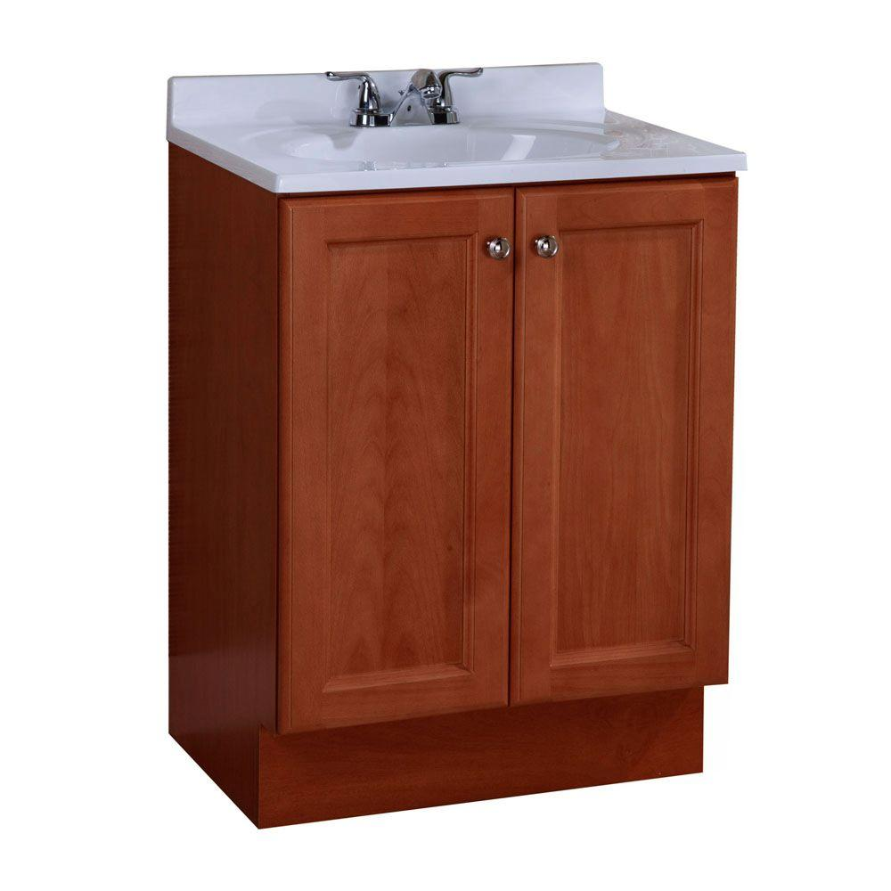 Glacier Bay Vanity Pro All-In-One 24-1/2 in. W Vanity in Amber with Cultured Marble Vanity Top in White