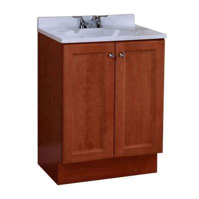 Vanity Pro All-In-One 24-1/2 in. W Vanity in Amber with Cultured Marble Vanity Top in White