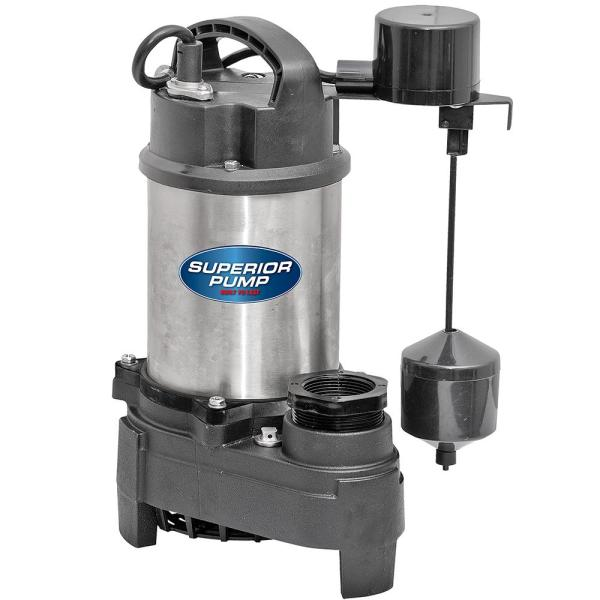 Superior Pump 92571 1/2 HP Submersible Stainless Steel / Cast Iron Sump Pump