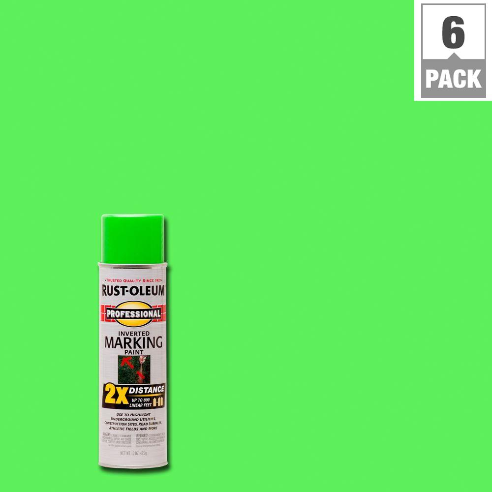 15 oz. Fluorescent Green 2X Distance Inverted Marking Spray Paint (6-Pack)